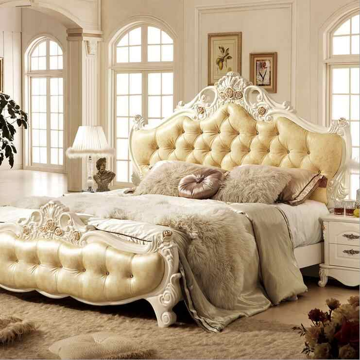 modern european solid wood bed Fashion Carved  leather  french bedroom furniture 10010