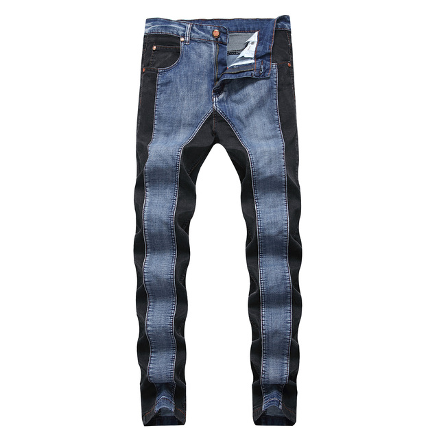 Spliced Jeans for Men Skinny Denim Pants Men Color Matching Jean Hombre