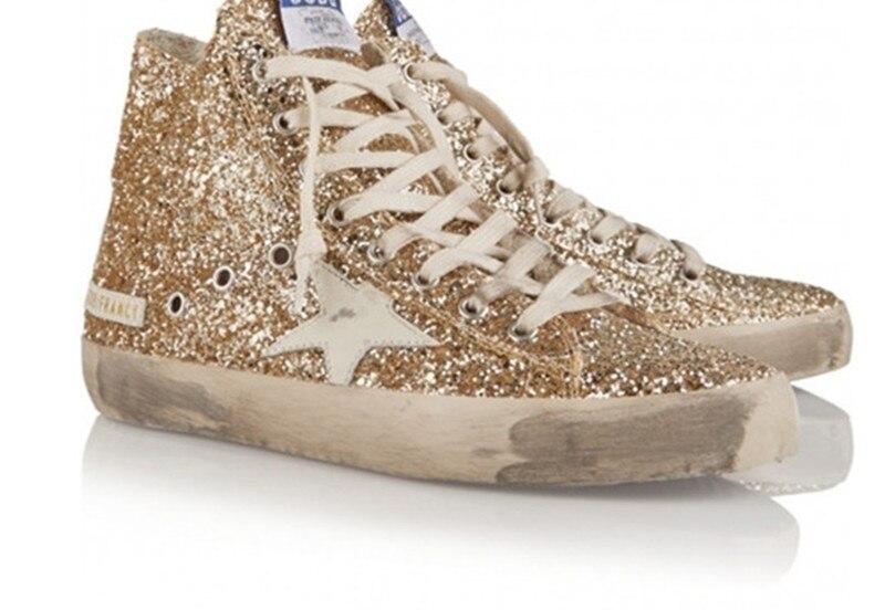 Italy Original Deluxe Brand Men Women Golden Shoes Sequined Cloth Goose Gold High Shoes Scarpe Casual Uomo Marque De Luxe 2017 hogan scarpe uomo