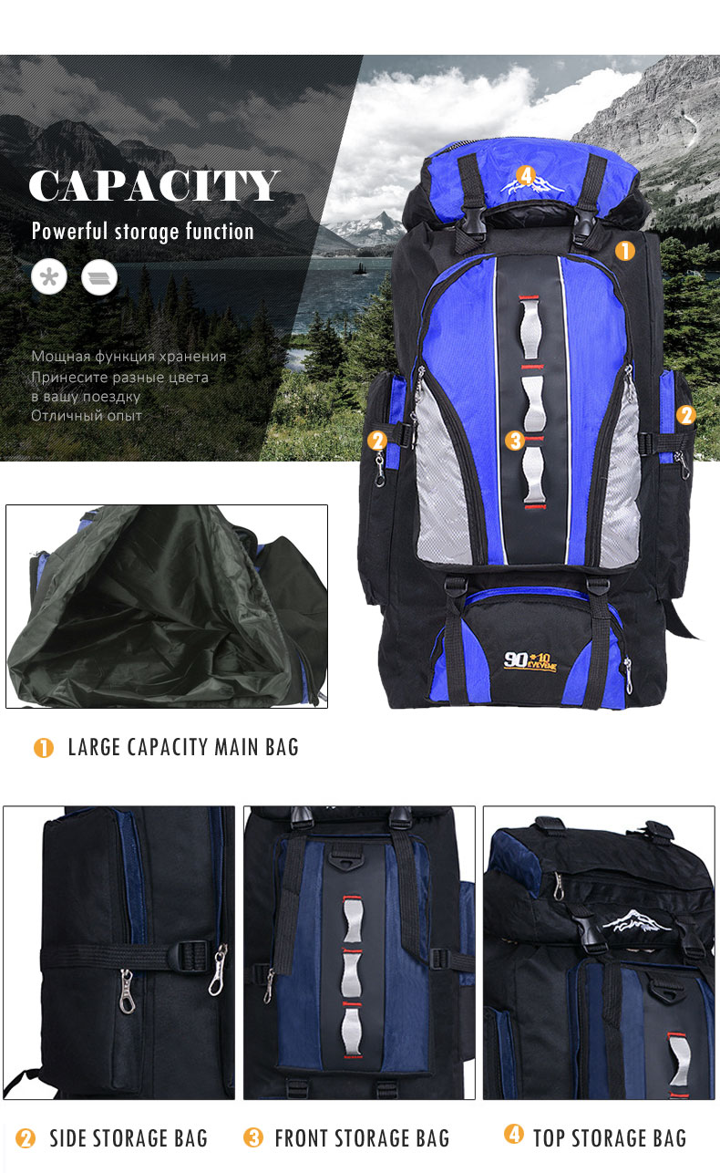 Backpack for Outdoor Sports, Travel, Hiking, Camping, Fishing, Climbing, Waterproof Bag, Large Capacity (TCP02)
