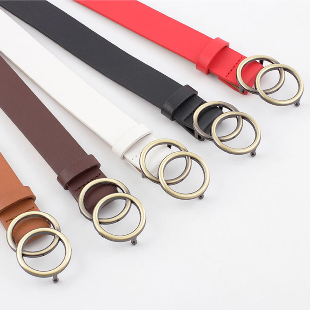 New Women Waistbands Soft Leather Waist Belt Round Double Ring Buckle Solid Casual Shape Vintage Tighten Holes Adjustable 105CM