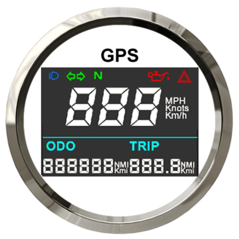 2 52mm Universal Digital GPS Speedometer Trip Meter Adjustable Odometer For Boat Yacht Motorcycle Car 12V