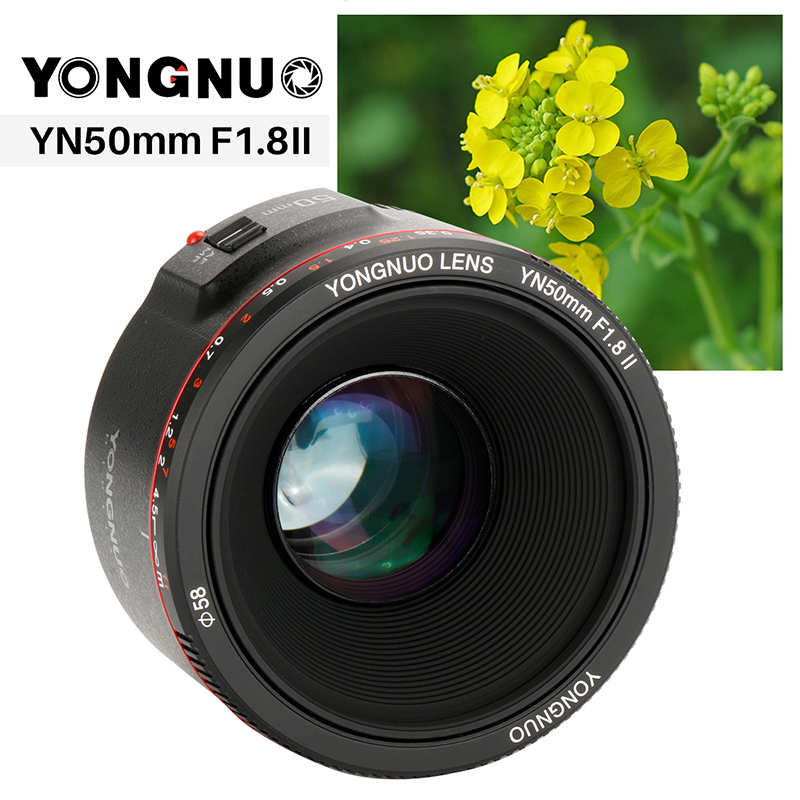 Updated YONGNUO YN50mm F1.8 II Fixed Lens AF/MF 50mm lense Large Aperture Metal Mount Focus Lens for Canon EOS 5D3 600D 1200D