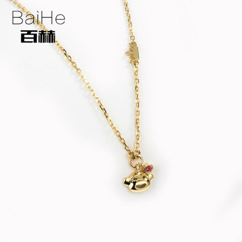 BAIHE Solid 18K Yellow Gold 0.02ct Certified 100% Genuine Ruby Anniversary Women Trendy Fine Jewelry Elegant unique NecklacesBAIHE Solid 18K Yellow Gold 0.02ct Certified 100% Genuine Ruby Anniversary Women Trendy Fine Jewelry Elegant unique Necklaces