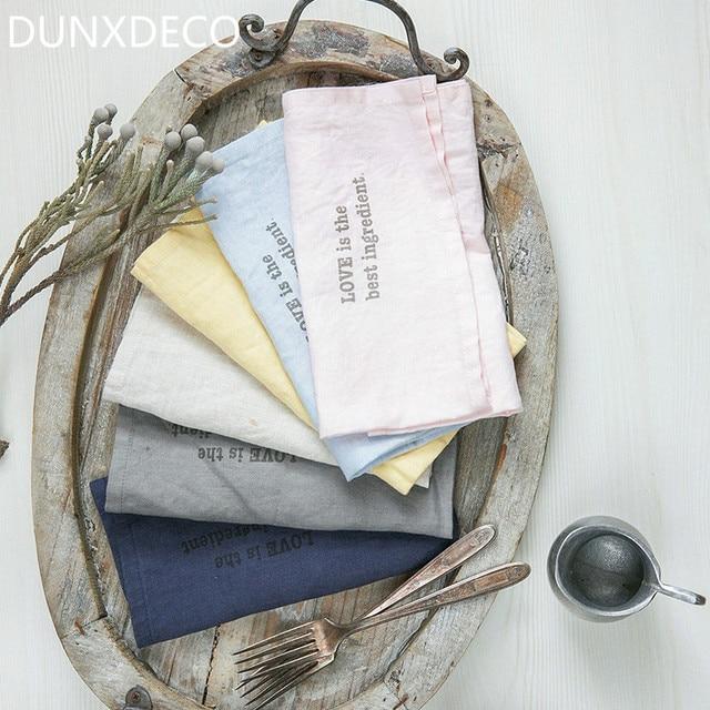Dunxdeco Таблица столовых чистого белья Чай Полотенца салфетка простой сплошной Цвет Кухня Ткань Домашний Декор