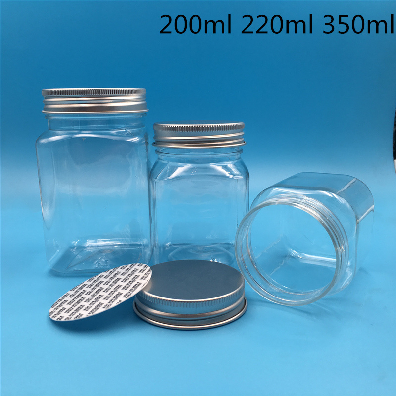 20 pcs Free Shipping 250 500 g Empty Transparent Square Plastic Bottles Packing Honey Dried Candy