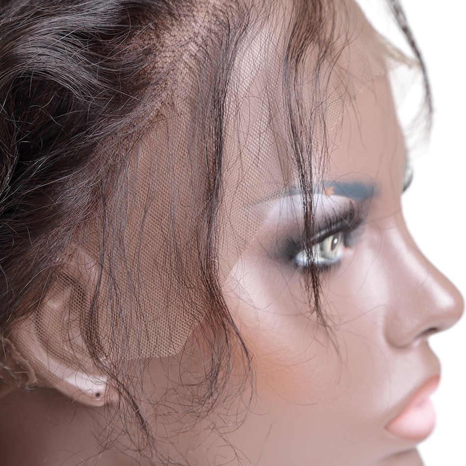 Peluca Frontal de encaje brasileño 360 con pelo de bebé pelucas de cabello humano rizado Frontal de encaje Natural para mujeres negras ilaria cabello