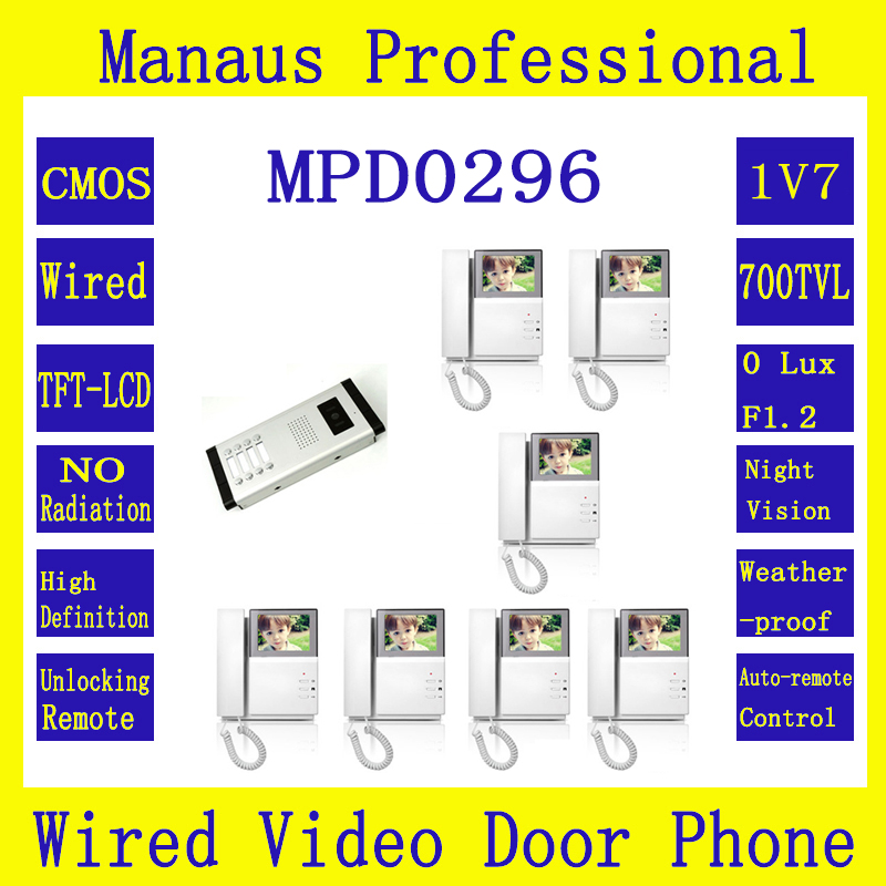 Professional Smart Home Wired 4.3Inch Color Video Intercom Phone,One to Seven Video Doorphone monitor Kit Configuration 1V7 D296