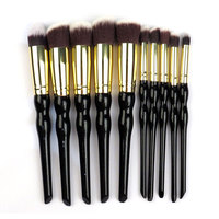 New Arrive Professional 10pcs Colorful Foundation Blush Liquid Kabuki Brush Synthetic Hair Blending Blush Makeup Tool