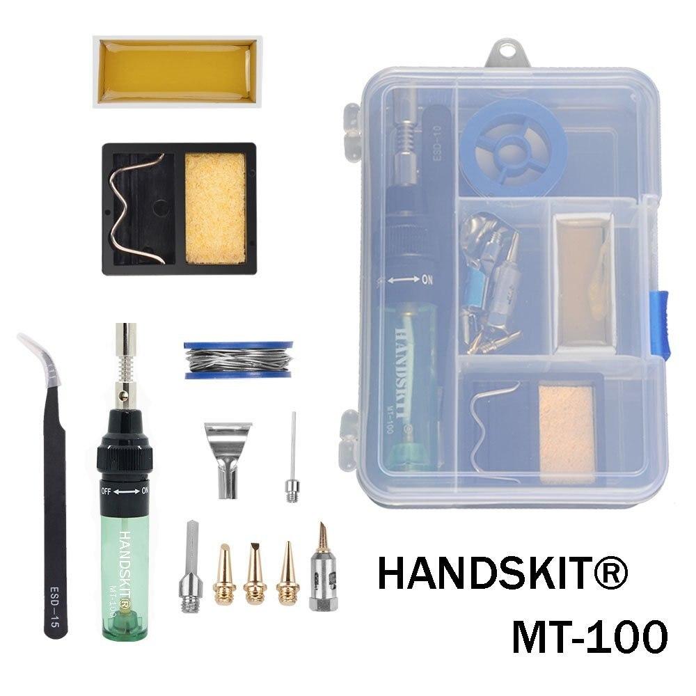 Handskit MT-100 Gas Lötkolben Elektrische Lötkolben Gun Schlag Taschenlampe wireless outdoor Cordless DIY Butan Gas Pistole EISEN