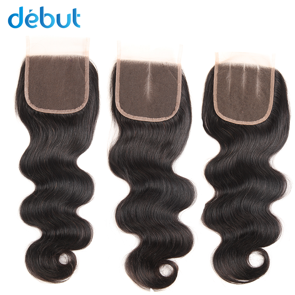 Debut Human Hair Extension Cheaply 4x4 Lace Closure Body  Nature Color Human Hair Closure 3 PART Silk Base Frontal