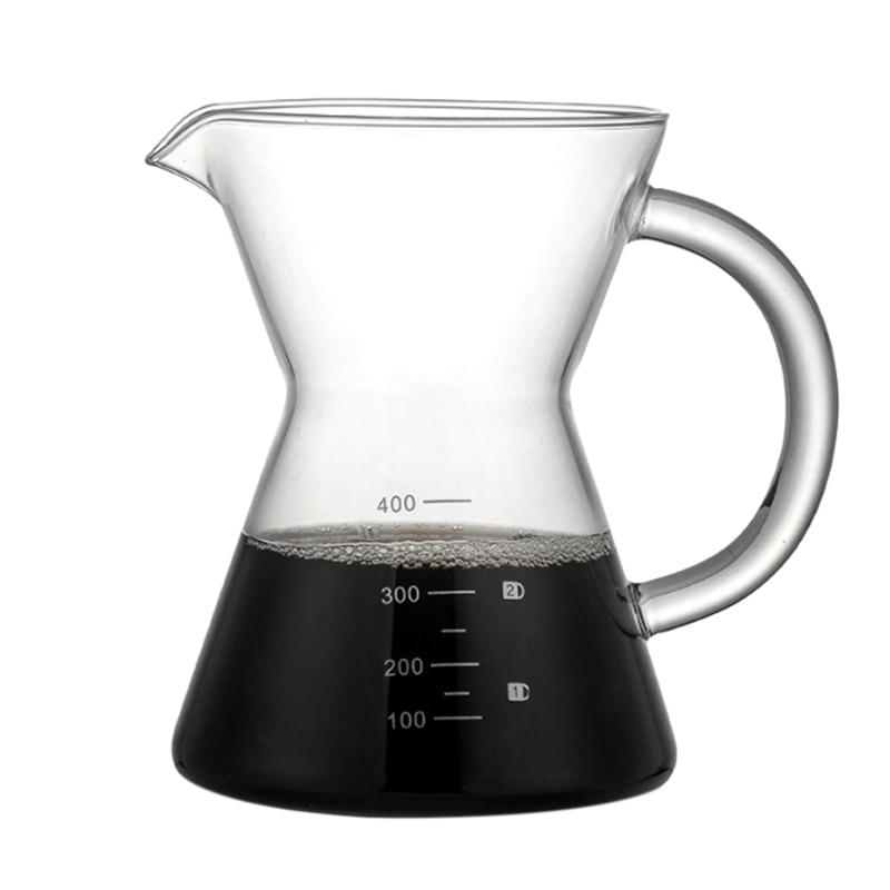 Ev ve Bahçe'ten Kahve Demlikleri'de Yeni 400Ml Üzerine Dökün Kahve Damlatıcı Manuel Kahve makinesi Kağıtsız Paslanmaz Çelik Filtre Cam Sürahi Pot Percolators title=