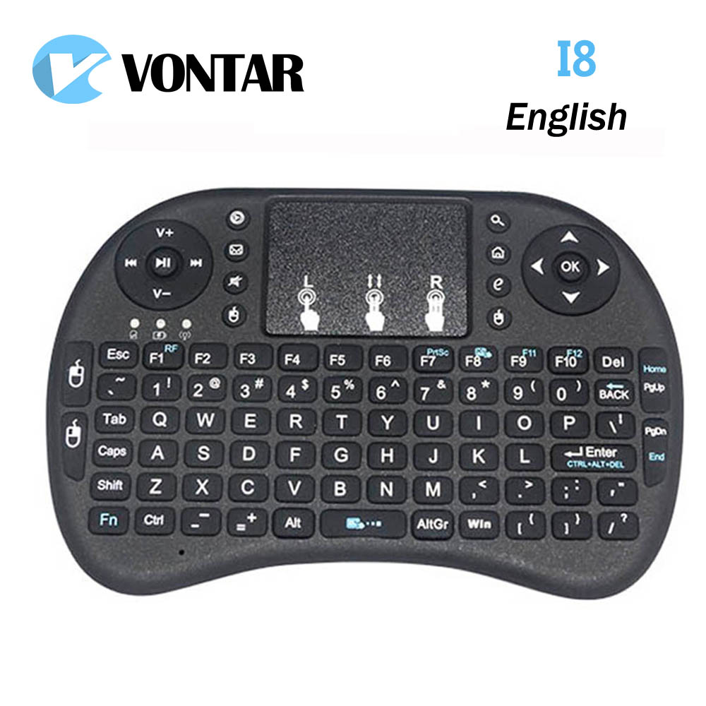 Vontar i8 mini keyboard English Li-ion battery Version i8+ Air Mouse Remote Control Touchpad Handheld for TV BOX Laptop Tablet цена и фото