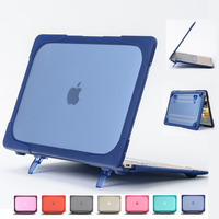 Case For Macbook Air 11 13 Retina 12 Laptop Sleeve Cover With Foldable Holder TPU Edge+Matte Frosted PC laptop Case Alabatsta