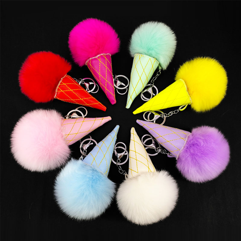 New 8Color Best Rabbit Fur Puff Ice cream Ball KeyChains Cute Kids Girls Rings Gold-color Car Bag Key Chain