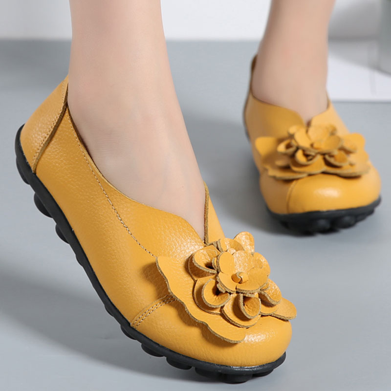 Women Ballet Flats Genuine Leather Flower Loafers Ballerina Slip On Round Toe Casual Shoes Size 35-44 Zapatos Mujer nayiduyun women genuine leather wedge high heel pumps platform creepers round toe slip on casual shoes boots wedge sneakers