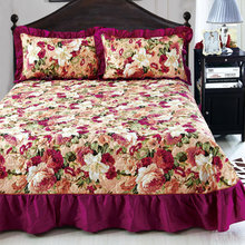 Home Textile Bedspread winter quilted bedspread Ruffles pillowcase 100% cotton quilted bedskirt Luxury Flower American bed cover(China)