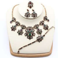 Vintage Turkish Flower Resin Jewelry Sets For Women Earring Ring Bracelet Necklace Retro Gold Plated Rhinestone