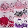 Free & Drop Shipping, super lindo bebé conjuntos tutú mameluco dress + venda + medias + zapatos de bebé princesa de la muchacha 4 unids conjuntos