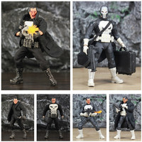 One:12 Marvel Punisher Frank Castle 6 Action Figure KO's Mezco 1/12 1:12 Comic Movie Toys Doll With Windbreaker Coat Black Suit