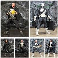 One:12 Marvel Punisher Frank Castle 6 Action Figure KO's Mezco 1/12 1:12 Comic Movie Toys Doll With Windbreaker Coat Black Suit