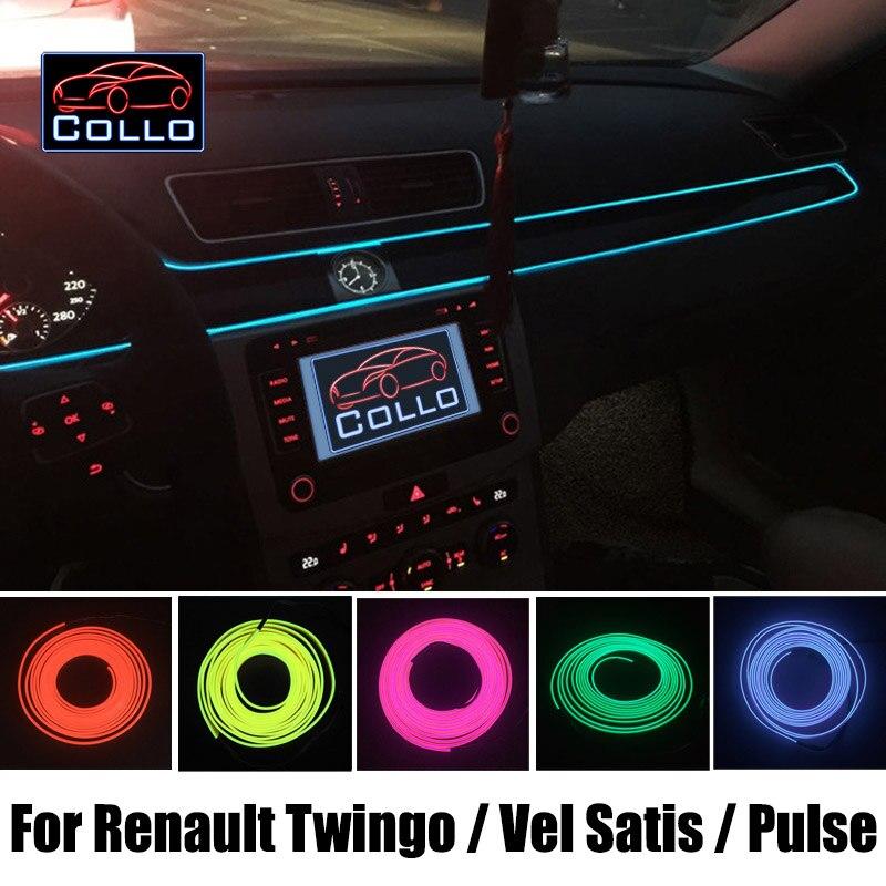 9M EL Wire DIY For Renault Twingo 1 2 3 / Vel Satis / Pulse / Car Interior Romantic Atmosphere Lamp / Decoration Cold Light Line коктейль белковый dietelle satis ваниль 5 саше