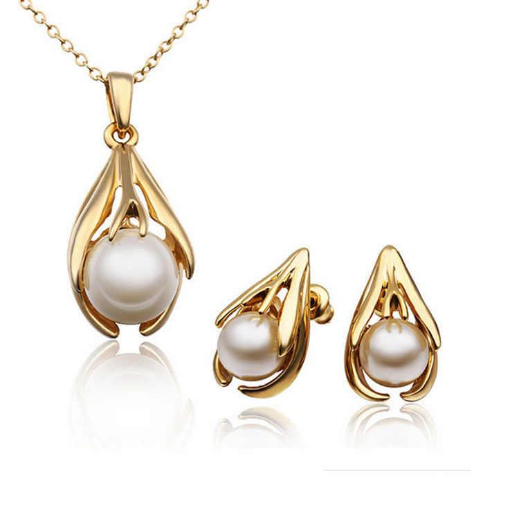 2015 Mode Perhiasan Mutiara Set Untuk Wanita Imitasi Emas Perak Kristal Anting Kalung Set Aksesoris Pernikahan Perhiasan