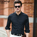2016 New Spring Autumn High Quality Plus Size 3XL Mens solide color white black Shirts Men bamboo fiber Causal Shirts