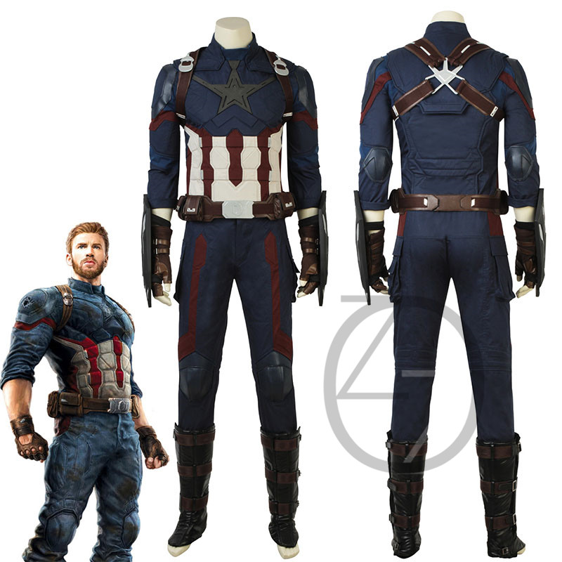 Avengers Infinity War Costume Captain America Steve Rogers Cosplay Superhero Outfit Halloween Suit Adult Men Clothes Customized