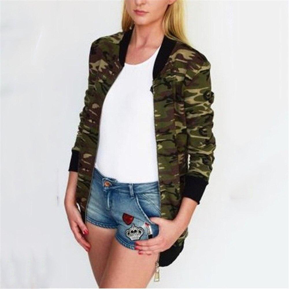 À Automne Fermeture Camouflage Manches Col Gris De Lâche Longues army Femmes Green Nouveau Éclair Veste Rond v1dntvqxwS