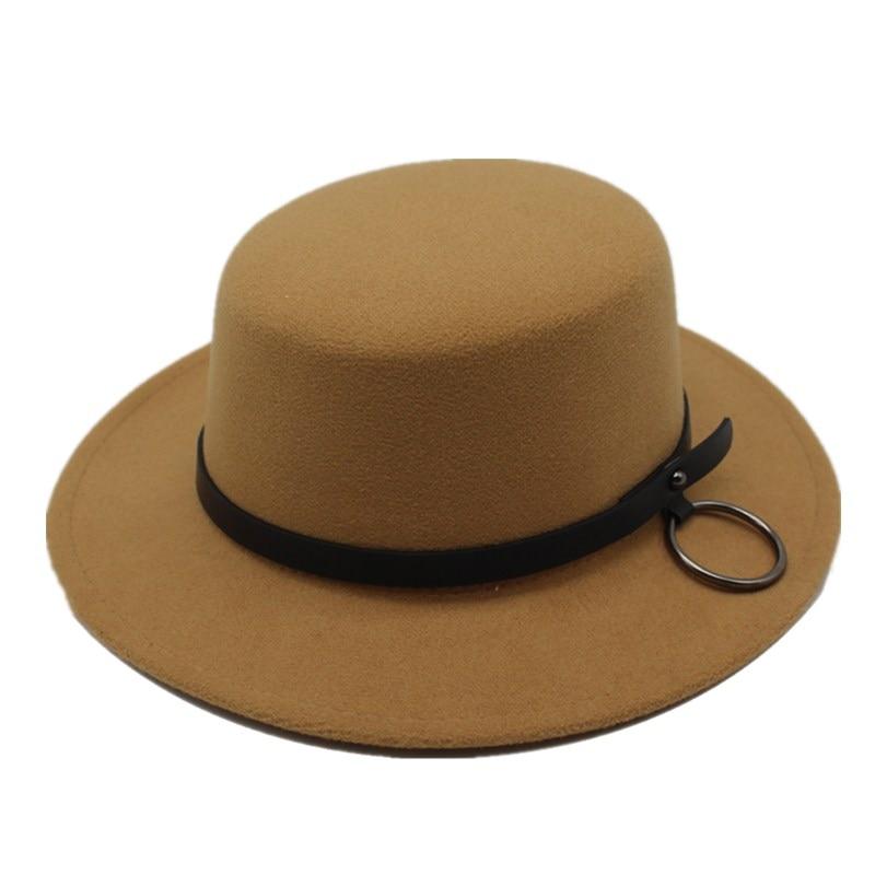 55da4e0a55e  HATLANDER Solid boater artificial wool fedoras hat for women mens trilby  Jazz caps gambler church bowler ...