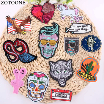 1Pcs Mixture Sell Punk Rock Embroidery Cool Patch Skull And Rose Iron On Free Motorcycle Biker Patches For Clothes Stickers DIY image