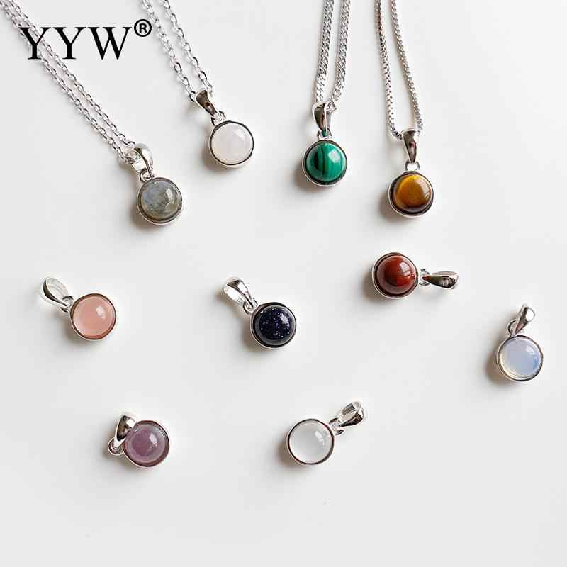 YYW Simple Natural Gem Stone Pendants Good Luck Agata Tiger Eye Opal Red Stone Sandstone Reiki Pendant Jewelry gifts