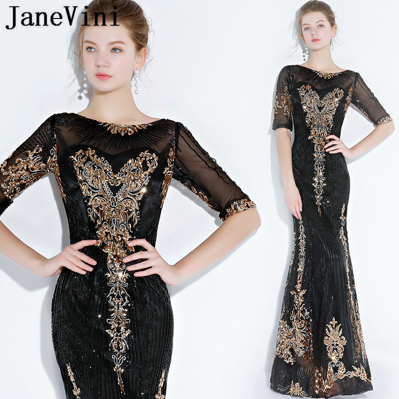 JaneVini Black Mermaid Mother Of The Bride Dresses With Gold Sequins Long Luxury Evening Dress For Wedding Party Gala Jurken
