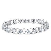 Multicolor/White Rhinestone Women Bracelets - White Gold Color Link Chain 3