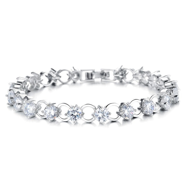 Multicolor/White Rhinestone Women Bracelets - White Gold Color Link Chain 3