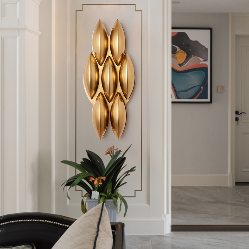 Postmodern American creative simple wall lamp golden light luxury villa living room aisle model room wall lamp-in LED Indoor Wall Lamps from Lights & Lighting    3