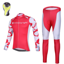 2017 QKI traveling light Cycling clothing Thermal fleece Long Sleeves Cycling Jersey and Cycling Long Pants a Set Maillot+Culote