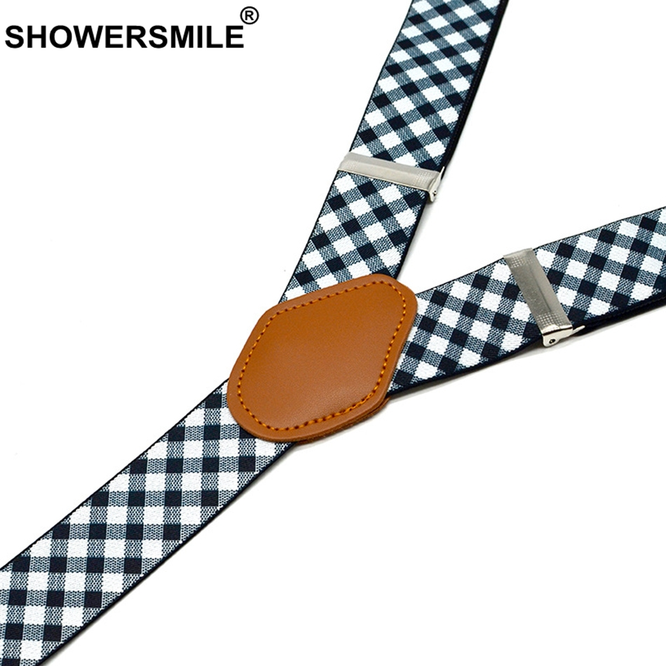 SHOWERSMILE Mens Suspenders Checkered Wedding Formal Braces Elastic Suspender Straps Mens Trouser Belt 3 5 120cm Men Accessories in Men 39 s Suspenders from Apparel Accessories