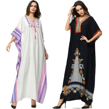 Dubai Islamic Arab Kaftan Muslim Women Jilbab Long Dress Abaya Maxi Summer Robe