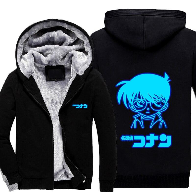 MIDUO 2018 Men hoodies Detective Conan Thicken Hoodie Zipper Sweatshirts Coat Jacket USA SIZE