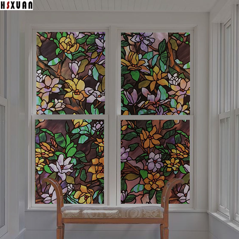 tint flower decorative window films 30x100cm pvc patterns privacy sunscreen waterproof gl window stickers hsxuan brand stained