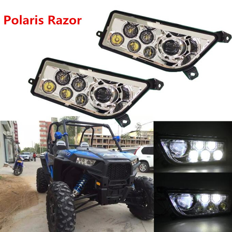 US $118 3 30% OFF|Pair Silver Polaris RZR Accessories ATV LED Headlight H4  High/Low beam for 2014 2016 RZR XP 1000 ,2016 RZR XP 4 TURBO-in Car