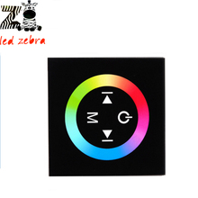 black/white glass touch panel rgb full color led controller,  3 channel wall mount led dimmer for rgb led strip  dc 12 -24v