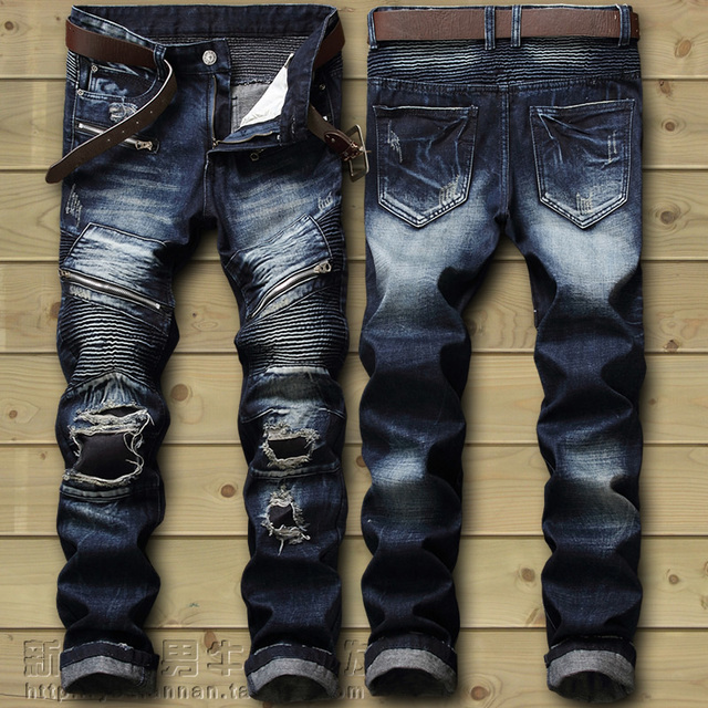 Dropshipping  Biker Jeans Men's Distressed Stretch Ripped Biker Jeans Men Hip Hop Slim Fit Holes Punk Denim Jeans Cotton Pants