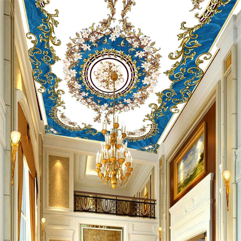 beibehang Custom wallpaper European blue sky pattern stone ceiling European style carpet floor painting PVC wearable wall paper blue sky чаша северный олень