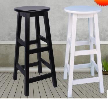 Real Wood Bar Chair. Tall Footstool. Bar Stool High Chair. Round Stool