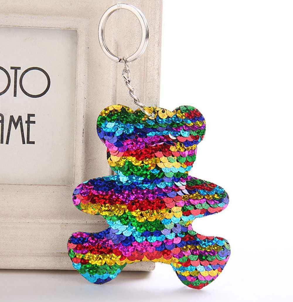 Unicórnio Urso Mickey Borboleta Chaveiro Pompom Glitter Lantejoulas Presentes Chaveiro Llaveros Mujer Das Mulheres Saco Chave Acessórios Do Carro Anel
