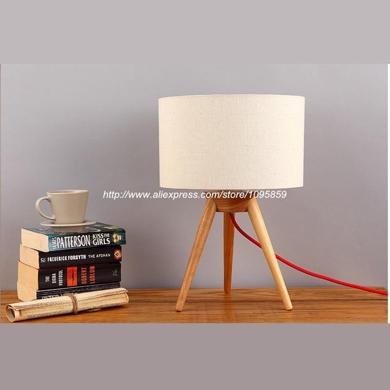modern wooden tripod table lamps lights wood color bedroom desk bedside readi. Black Bedroom Furniture Sets. Home Design Ideas