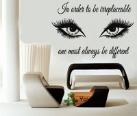 Special Art Woman Girl Eyes With Quotes Wall Decals Home Decor Art Wall Stickers Wall Mural